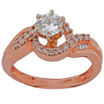 14k rose gold lady diamond engagement ring