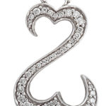 14k white gold Jayne Seymour open hearts diamond pendant