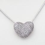 14k white gold Sonia B. designer pave diamond heart slide pendant
