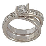 14k white gold and diamond lady wedding ring