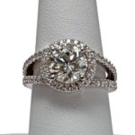 14k white gold halo style diamond engagement ring