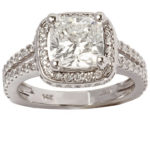 14k white gold lady cushion cut diamond engagement ring