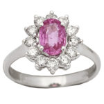 14k white gold lady diamond and pink sapphire ring