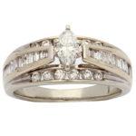 14k white gold lady marquise diamond engagement ring