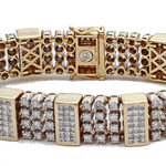 14k yellow gold and diamond gents bracelet