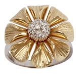 14k yellow gold and white gold lady flower design diamond ring