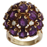 14k yellow gold diamond and amethyst ring