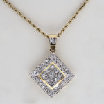 14k yellow gold fancy diamond pendant