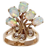 14k yellow gold lady diamond and opal ring