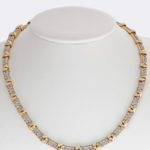 14k yellow gold lady pave diamond necklace