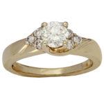 14k yellow gold lady swirl design diamond wedding ring