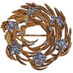 14k yellow gold lady vintage wreath design broach
