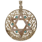 14k yellow gold reversible Star of David charm