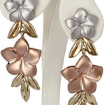 14k yellow, rose and white gold flower design earrings