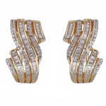 14kt yellow gold fancy swirl design diamond omega back earrings