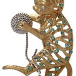 18k two tone gold emerald and diamond cat broach
