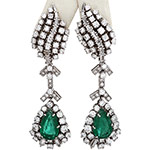 18k white gold emerald and diamond opera style drop earrings