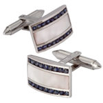 18k white gold gent sapphire and mother of pearl cuff links