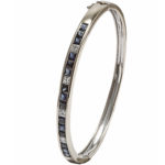 18k white gold lady diamond and sapphire bangle bracelet