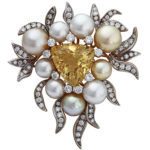 18k yellow gold Marlene Stowe signed designer broach