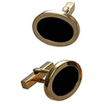 18k yellow gold Tiffany & Company black onyx cuff links