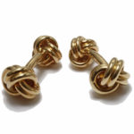 18k yellow gold Tiffany & Company signed knot design cufflinks