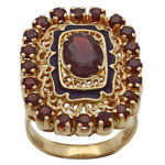 18k yellow gold and garnet lady filagree design ring