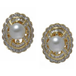 18k yellow gold diamond and pearl clip back earrings