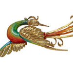 18k yellow gold enamel bird broach