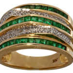 18k yellow gold fancy emerald and diamond ring