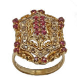 18k yellow gold ladies antique ruby and diamond ring