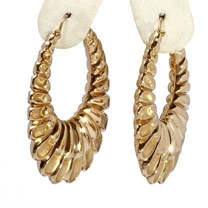14k Yellow Gold Hollow Puff Hoop Earrings