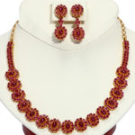 22k yellow gold ruby necklace and earring set