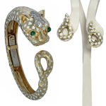 David Webb 18k yellow gold-platinum-enamel Panther bracelet
