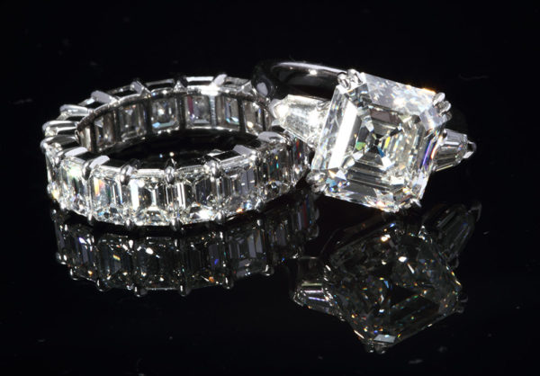 Diamond wedding band and engagement ring
