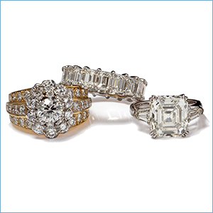 Diamond rings and fine jewelry available from National Pawn & Jewelry
